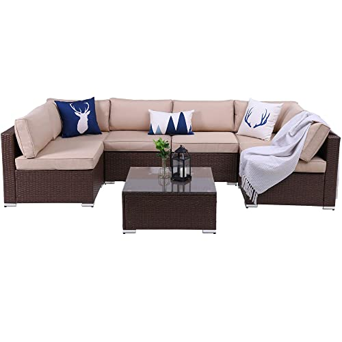 7 PCs Outdoor Patio PE Rattan Wicker Sofa Sectional Furniture Set, All Weather Washable Cushions, Garden Lawn Pool Backyard Sofa Set with Coffee Table, Brown Wicker Beige Cushions