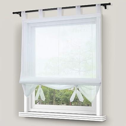 Thinkbay Raffrollo Schlaufen Gardinen Vorhänge 1er-Pack Vorhang H*B 155 *  100cm Weiß