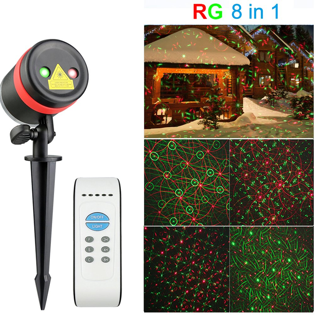 Christmas Laser Lights Outdoor - SurLight R & G 8 in 1 Patterns Waterproof Laser Projector Lights Landscape Lights for Christmas Decorations Outdoor Garden Holiday Decor, with IR Remote Control Timer