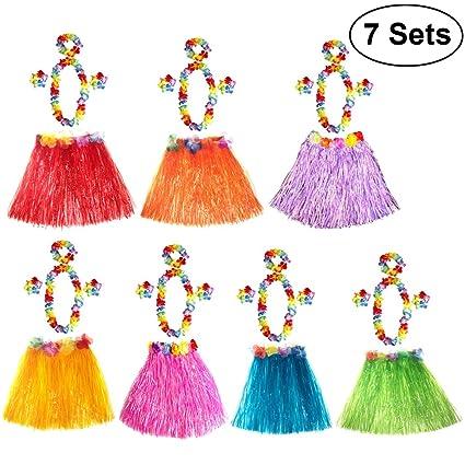 f0594d7109b Buy TENDYCOCO Hawaiian Hula Dancer Grass Skirt Costume Luau Party ...