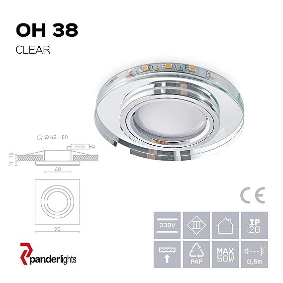 GU10 Fassung 230V OH.38 Glas Einbauspot Deckenbeleuchtung mit LED Leiste