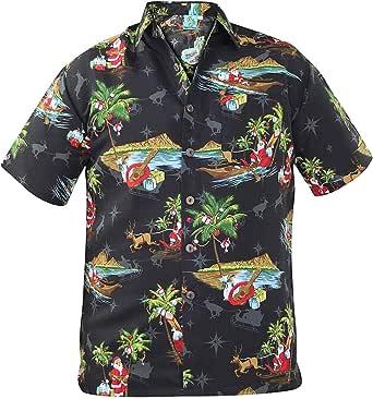 True Face Nuevo Hombres Navidad Hawaiano Impresiones Poliéster Camisa Playa Fiesta Parte Superior