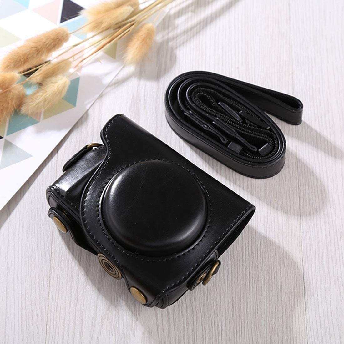 Color : Black Perfect Home Convenience Durable Full Body Camera PU Leather Case Bag with Strap for Canon G9X G9X II Durable