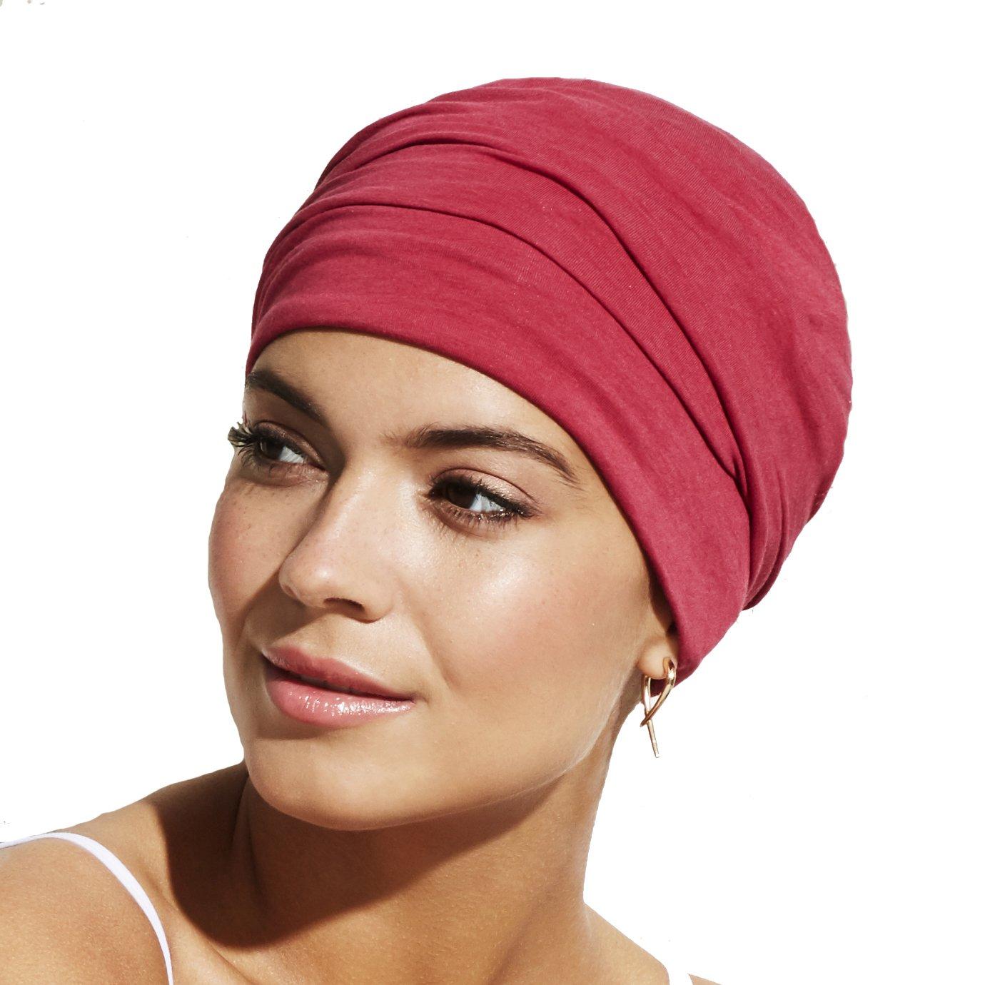 Gorro Zoya color rojo para mujeres con alopecia