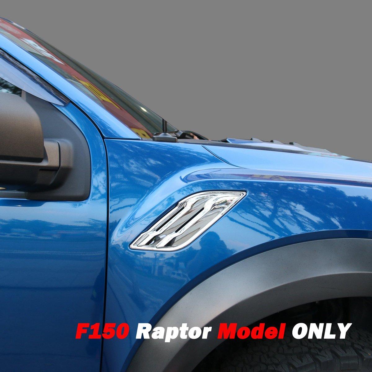 Justautotrim Honeycomb Front Bumper Bottom Fog Vent & Side Fender & Headlgiht Chrome Cover Trim for 2016 2017 2018 Ford F150 Raptor Accessories (Front Fog Vent Black)
