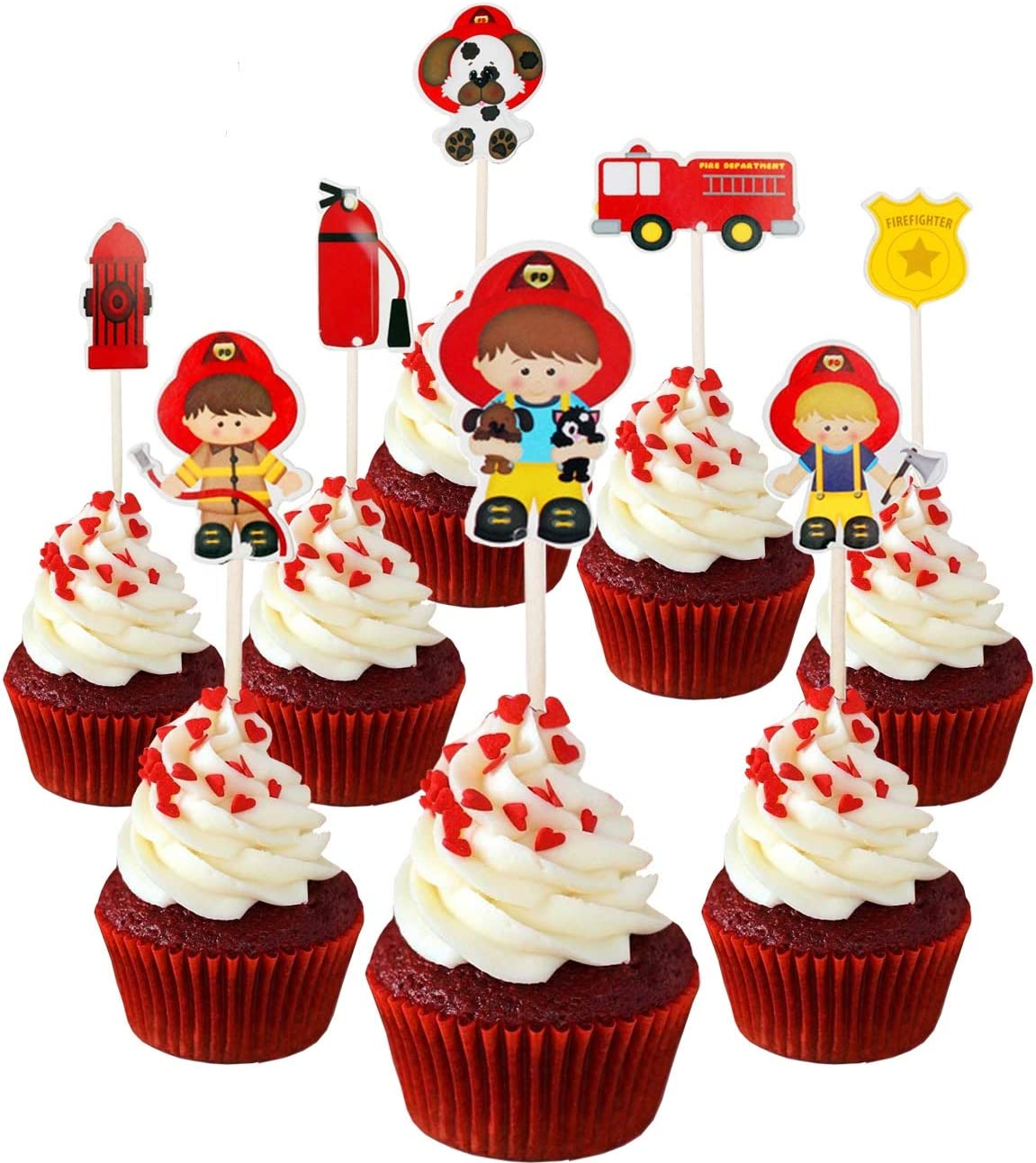24pc Firefighter Fireman Fire Truck Fire extinguisher Cupcake Toppers for Birthday Party Firefighter is a hero!