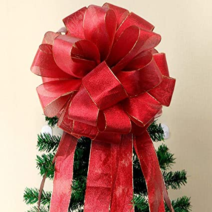 Aytai Christmas Tree Topper Bow Large Red Christmas Bows With Streamer Gold Edge Diy Red Velvet Ribbon For Christmas Tree Decoration