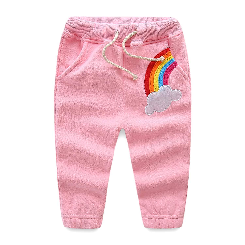 Mud Kingdom Toddler Girls Jogger Pants Fleece 4T Pink Rainbow