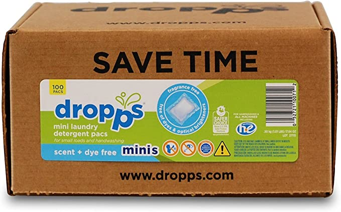 Dropps HE Hand/Machine Wash Laundry Mini Detergent Pacs, Scent + ...