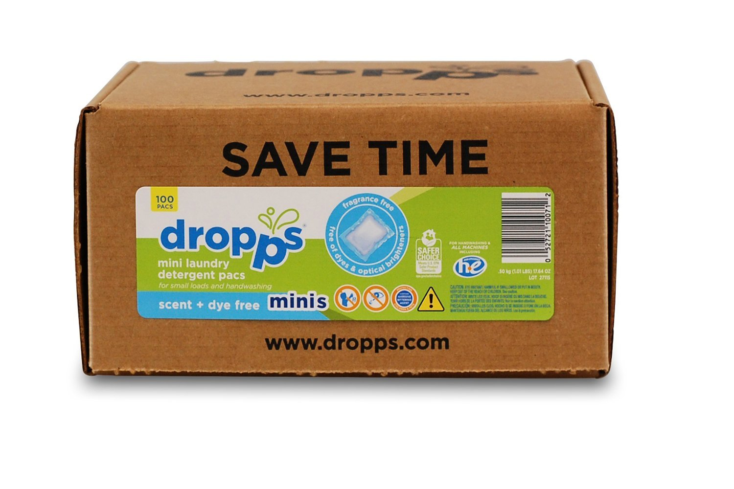 Dropps Sensitive Skin Mini HE Natural Laundry Detergent Pods, Unscented, 100 Count, Free and Clear
