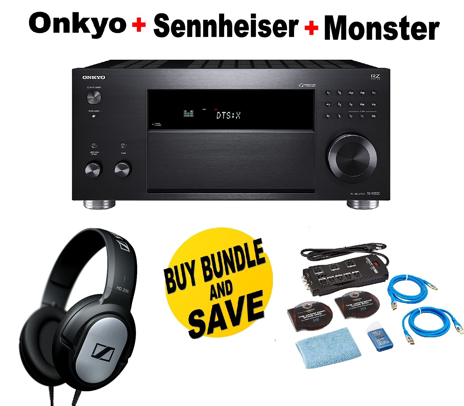 Onkyo Rz Series Audio & Video Component Receiver Black (TX-RZ820) + Monster Home Theater Accessory Bundle + SENNHEISER HD206 Bundle by Onkyo