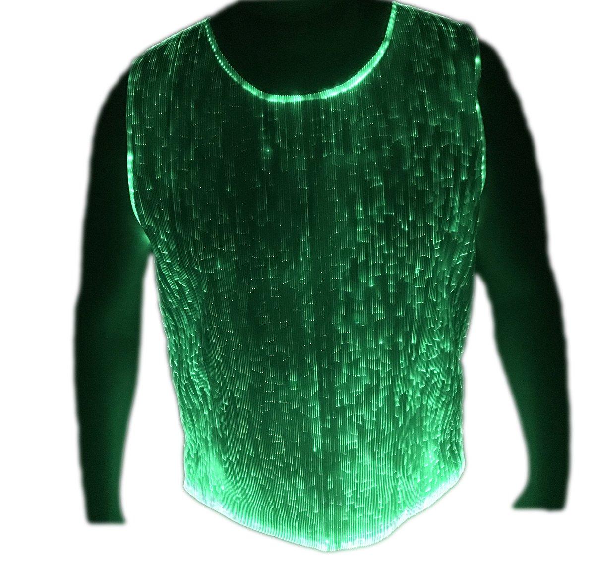 Fiber Optic T Shirt for Men LED Light up Dance Wear Glow in the Dark Hip Hop T Shirt (L, White)
