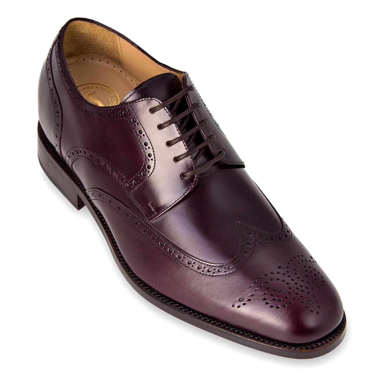 Burdeos Masaltos zapatos de Hombre con Alzas Que Aumentan Altura Hasta 7 cm. Fabricados EN Piel. Modelo Atlanta
