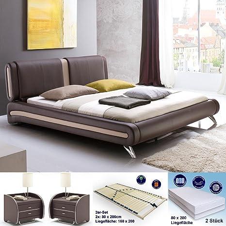 tapizada (Malin 160 x 200 Color Marrón + 2 x NAKO Goar + Somier +