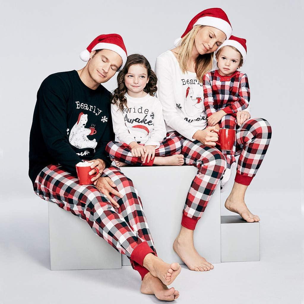 Petyoung Familien Passende Pyjama-Sets Niedliche B/ären Nachtw/äsche Weihnachten Langarm Nachtw/äsche Pyjamas