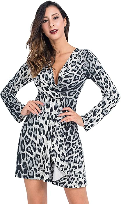916c135350e Lomantise Knot Front Dress in Leopard with Long Sleeve US 4 Blue at ...