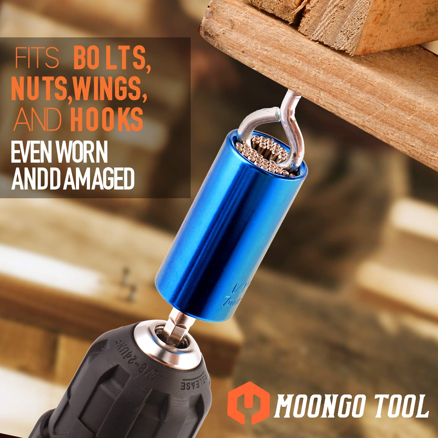 Best Unique Gifts Tools Father Dad Christmas Gifts for Men Him Universal Socket Wrench Power Drill Adapter Universal Sockets By Moongo Tool Boyfriend Husband DIY Handyman Guys
