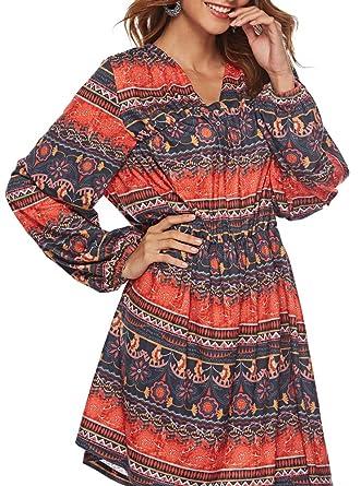 963aa7130d0b9 Dasbayla Women  s Indian Print Ethnic Midi Dresses for Leggings Long Sleeve  Tunic Dress S