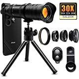 30X Cell Phone Camera Lens, 4 in 1 HD Phone Photography Lens Kit - 18X-30X Zoom Monocular Telephoto Lens - Remote Shutter & Flexible Phone Tripod, Wide Angle, Fisheye & Macro Lens for Smartphones
