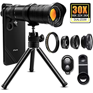 30X Cell Phone Camera Lens, 4 in 1 HD Phone Photography Lens Kit - 18X
