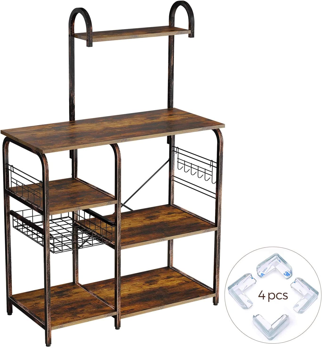 Rolanstar Kitchen Baker's Rack, Large Capacity Utility Storage Shelf, Microwave Stand with 7 Shelves and 12 Hooks, Foldable Pull Basket, Stable Retro Metal Frame