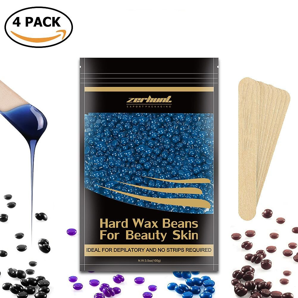 Hard Wax Beans Hair Removal - Zerhunt Stripless Wax Beads With 10pcs Spatulas For Waxing Warmer Kit, 4 Pack,14oz / 400g