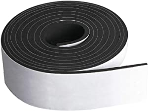 """Neoprene Foam Strip Roll by Dualplex,3"""" Wide x 10' Long 1/8"""" Thick, Weather Seal High Density Stripping with Adhesive Backing – Weather Strip Roll Insulation Foam Strips"""