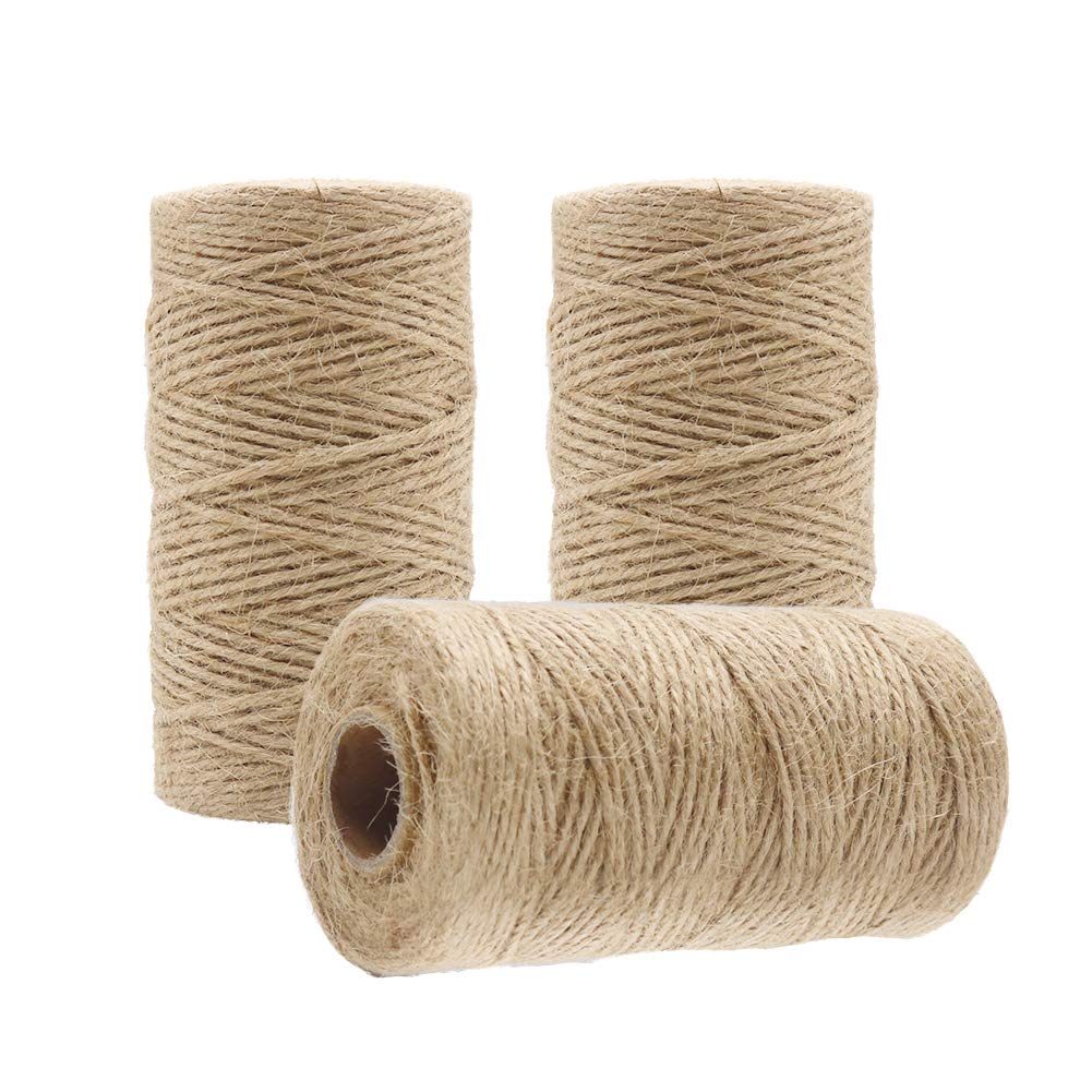 1000 Feet Natural Jute Twine String, Tenn Well 3Ply 2mm Arts and Crafts Twine for Gift Wrapping, Picture Display, Wedding Invitations, Packaging (3pcs x 335 Feet)