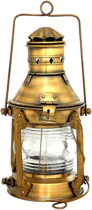 "Brass /& Copper Anchor Oil Lamp Leeds Burton Nautical Maritime 14/"" Ship Lantern"