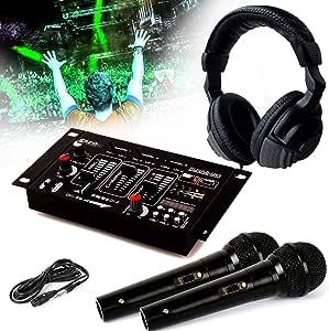 Auricular Dj Sono + mesa de mezclas dj21-usb-mkii Ibiza Sound + 2 micros Dynamiques negro: Amazon.es: Instrumentos musicales