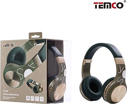 TEMCO Auriculares Bluetooth de Diadema Inalámbricos, Cascos Bluetooth Plegable con Micrófono Manos Libres,Almoadilla Suave para TV, PC, Tablet, Móvil, Huawei,iPhone,Samsung (Dorado): Amazon.es: Electrónica