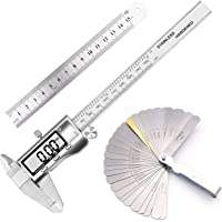 Stainless Steel Electronic Vernier Caliper Fractions/inch/Metric Conversion Measuring Tool kit with Feeler Gauge and Stainless Steel Ruler
