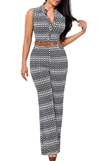 66b9c921dc2e Pink Queen Womens Button Up Printed Long Wide Leg Pant Party Jumpsuits with  Belt