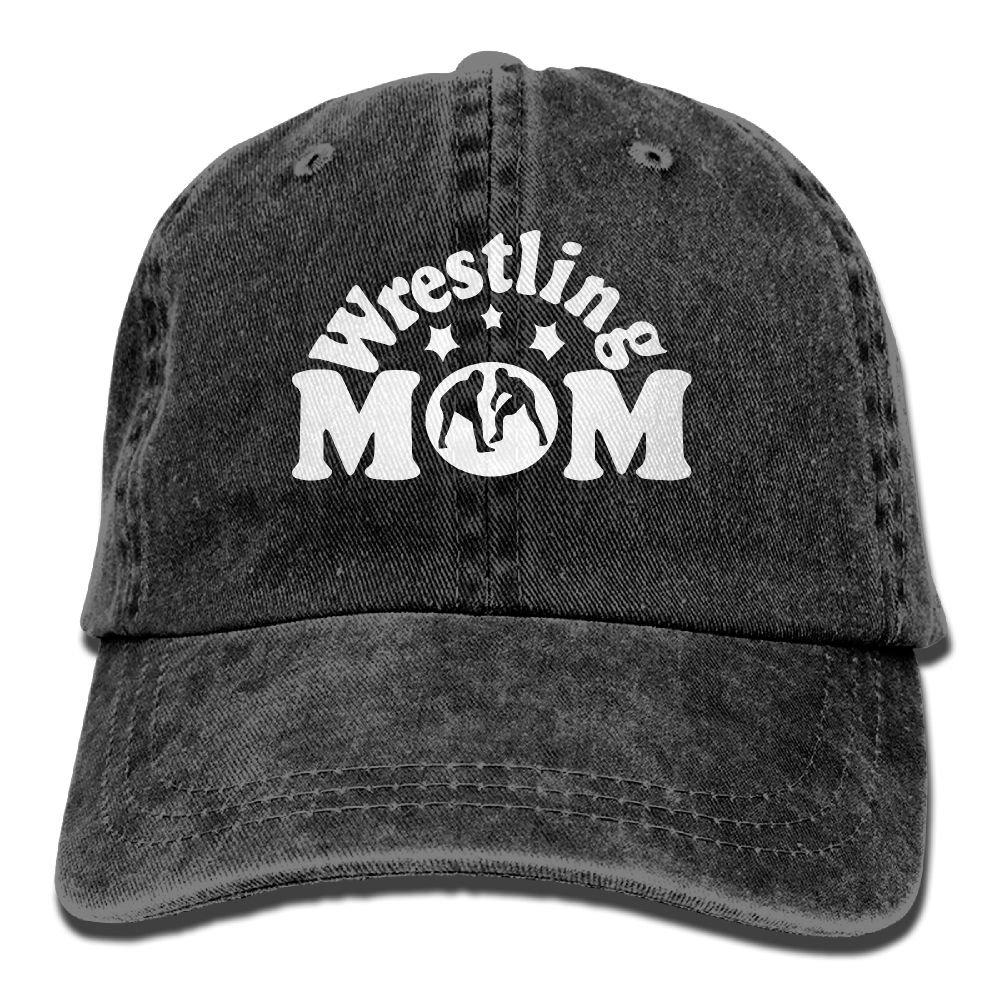 Wrestling Mom Men's Women's Adjustable Jeans Baseball Hat   Yarn-Dyed Denim Sun Hat