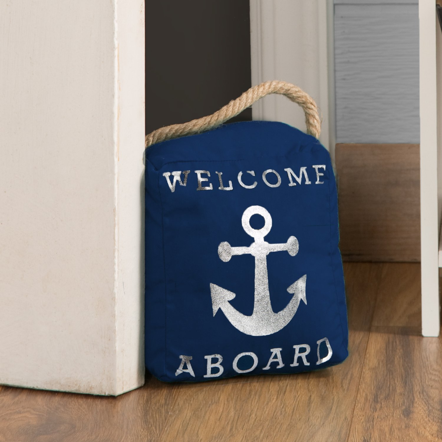 Pavilion Gift Company Open Door Decor Welcome Aboard Anchor Beach Navy /& Silver Door Stopper with Handle