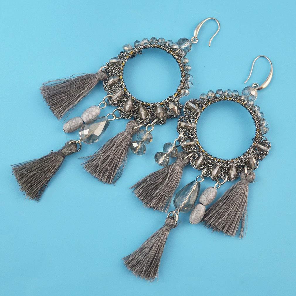 Jinxian Tassels Drop Earrings Boho Fashion Dangling Ear Studs Graceful Elegant