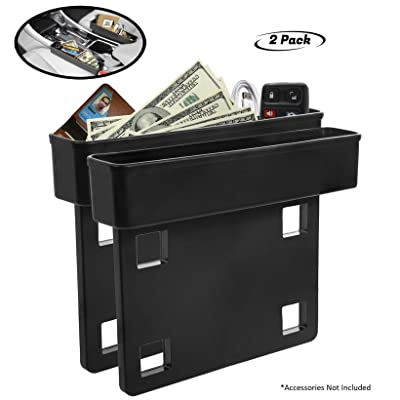 Lebogner Between Car Seat Gap Filler Organizer, 2 Pack Side Of Center Console Storage Box For Money, CellPhone, Coins and Keys, Multifunction Crevice Pocket Caddy Catcher, Vehicle Interior Accessories: Automotive