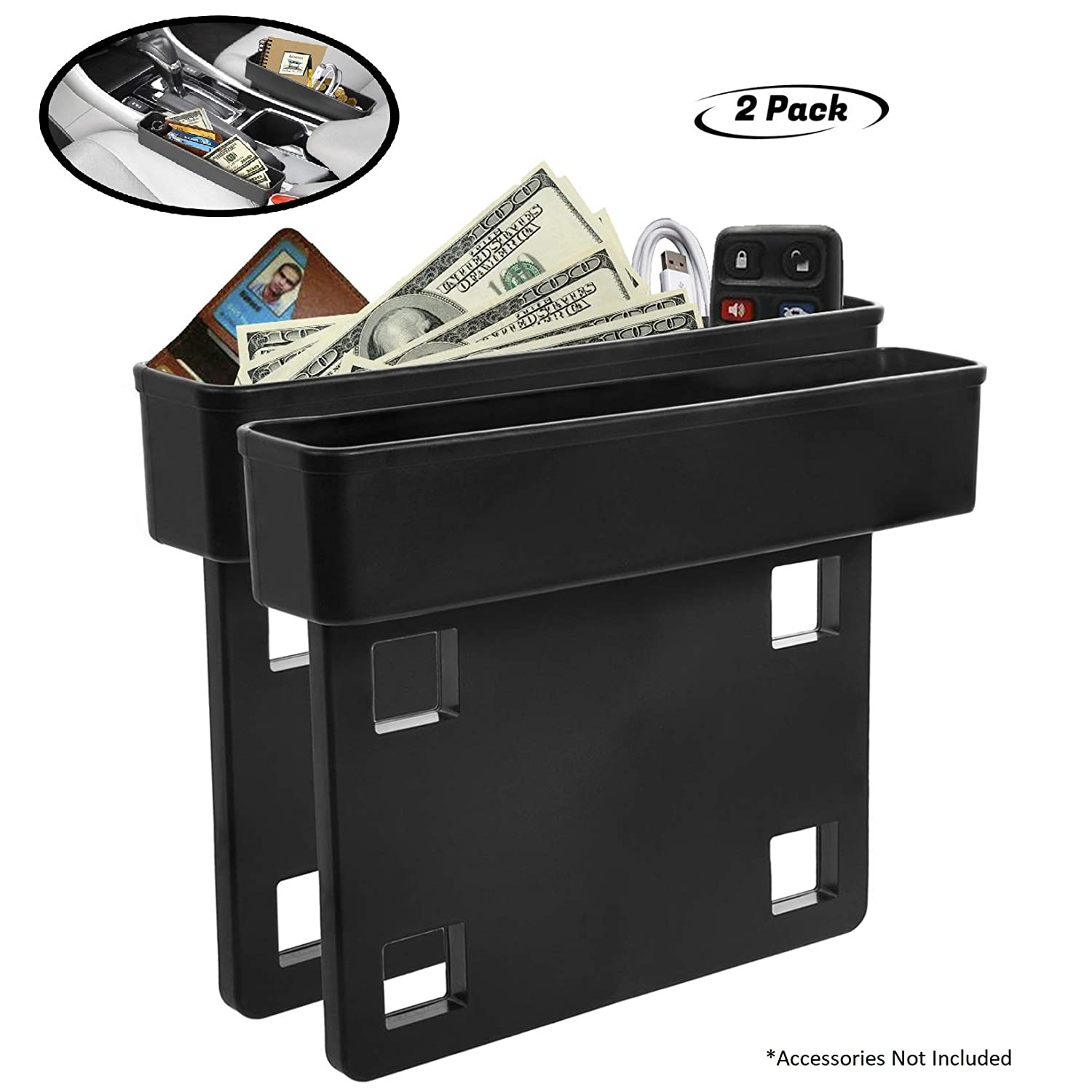 Coins and Keys Multifunction Crevice Pocket Caddy Catcher 2 Pack Side Of Center Console Storage Box For Money CellPhone Lebogner Between Car Seat Gap Filler Organizer Vehicle Interior Accessories