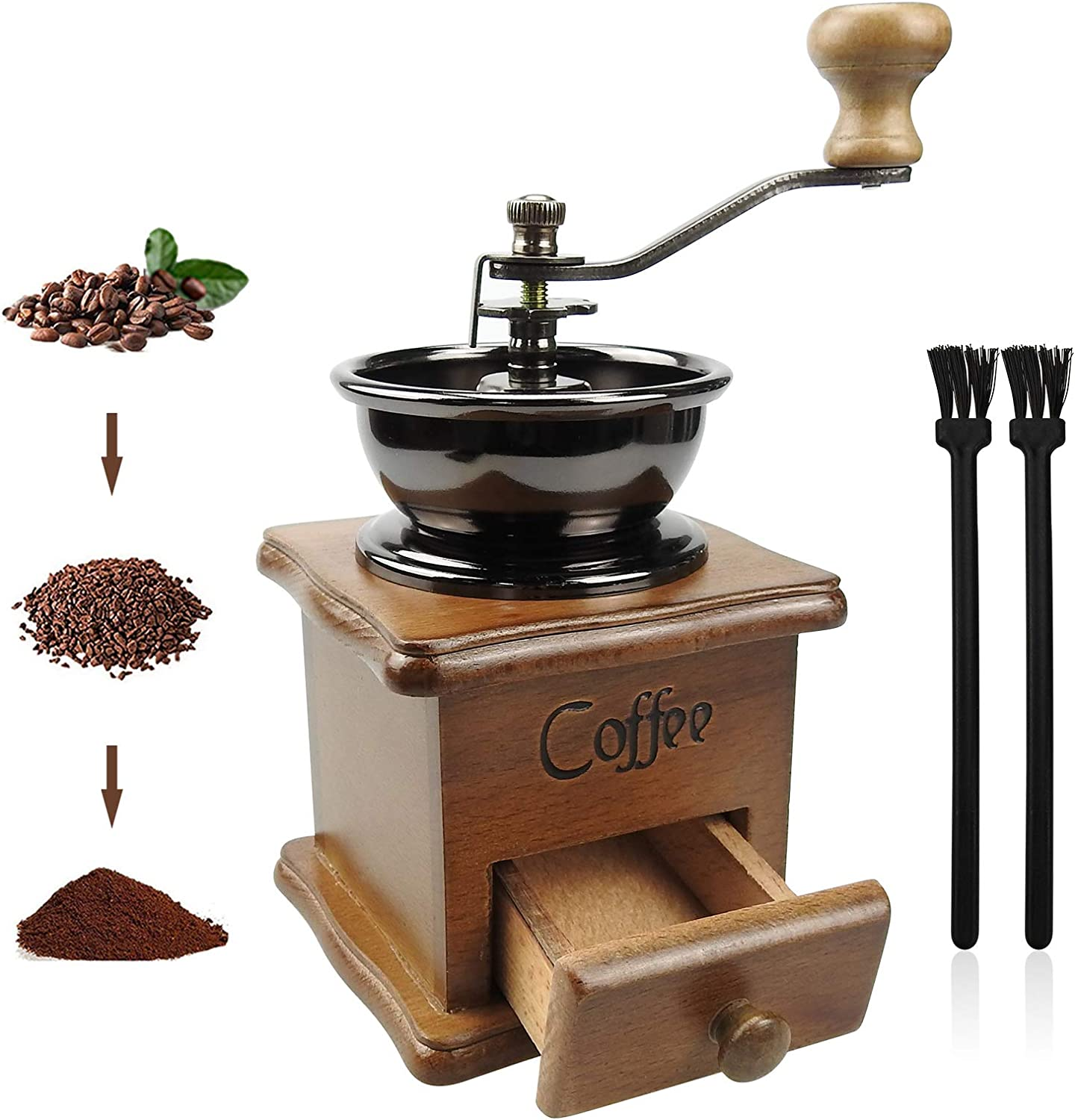 Manual Coffee Grinder, Vintage Style Wooden Hand Grinder Hand Coffee Grinder Roller Classic Coffee Mill Hand Crank Coffee Grinders With Brush for Drip Coffee French Press