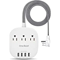 Desktop Power Strip with 3 Outlet 4 USB Ports 4.5A, Flat Plug and 5 ft Long Braided Extension Cords for Cruise Ship…