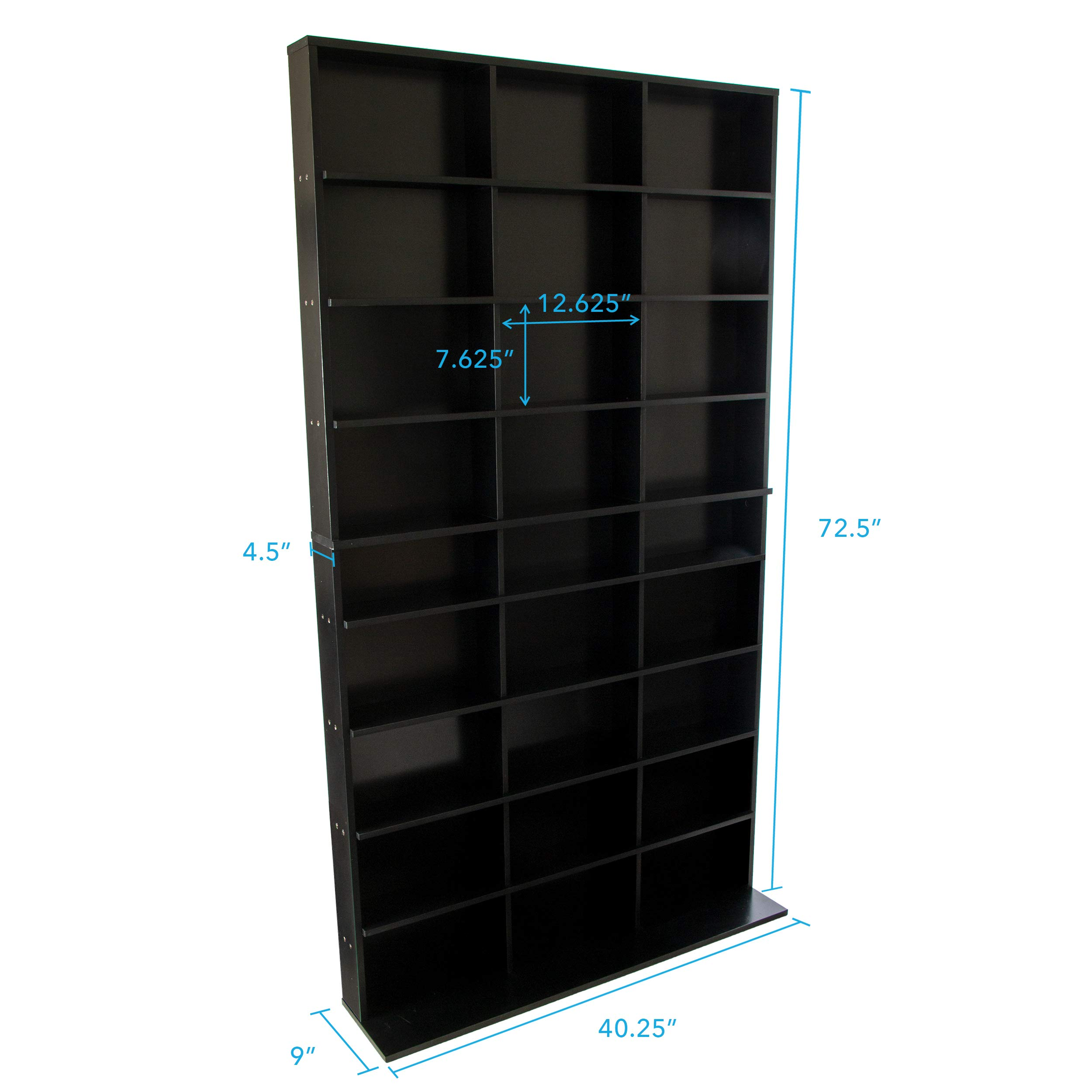 Atlantic Elite Media Storage Cabinet - New/Improved Tower, Stores 837 CDs, 630 Blu-Rays, 531 DVDs, 624 PS3/PS4 Games or 528 wii Games with 9 Fixed Shelves, PN38408117 in Black by Atlantic