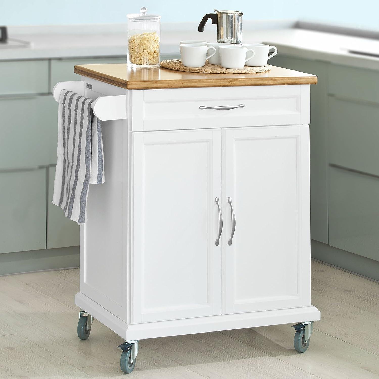 SoBuy® Luxus-Küchenwagen mit Bambustischplatte - Küchenschrank ...