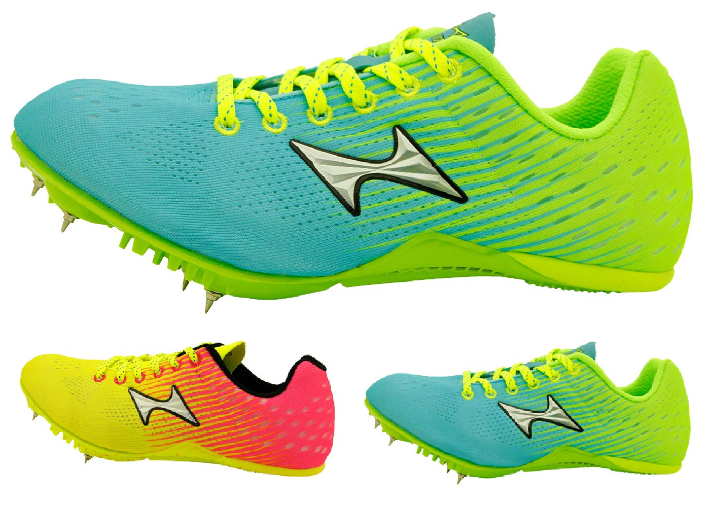 HEALTH Men's Women's Track Spike Running Sprint Shoes Mesh Breathable Track and Field Spikes Professional Athletic Shoes 135 Lemon & Azure