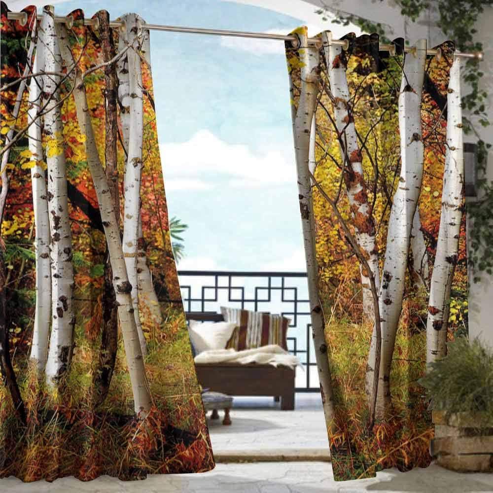 DILITECK - Cortina para pérgola, decoración de otoño, diseño de árbol de Roble, Color Naranja, Amarillo, Azul Claro: Amazon.es: Jardín