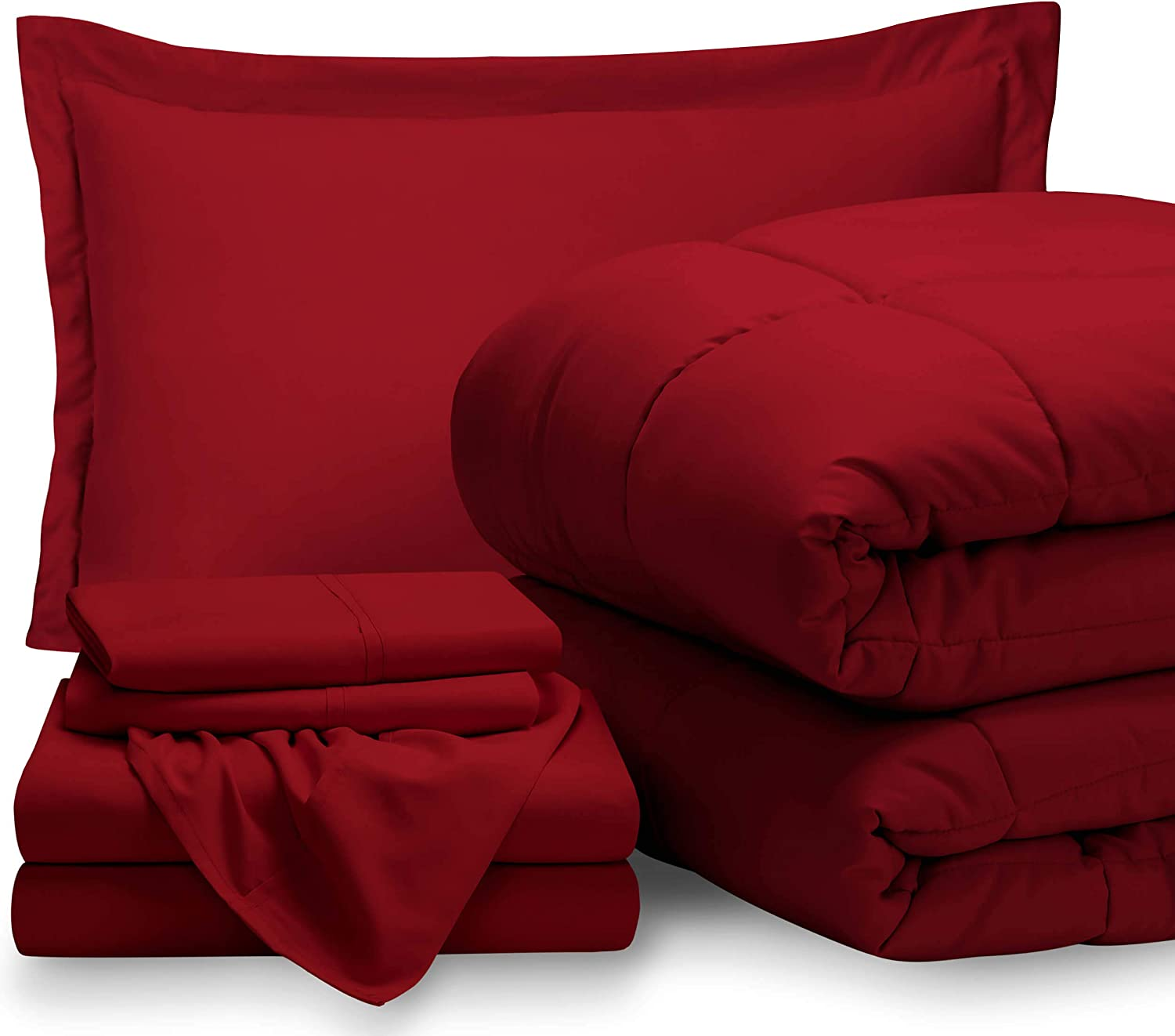 Bare Home Twin Sheet Set - 1800 Ultra-Soft Microfiber Bed Sheets (Twin, Red) + Comforter Set - All Season (Twin/Twin XL, Red)