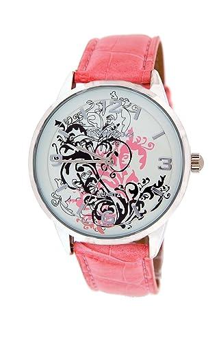 Nemesis para mujer tatuaje inspirado reloj con banda de piel rosa: Amazon.es: Relojes