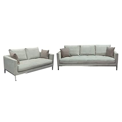Diamond Furniture CHATEAUSLGR Chateau Loose Pillow Back Sofa U0026 Loveseat 2PC  Set In Royal Sapphire Grey