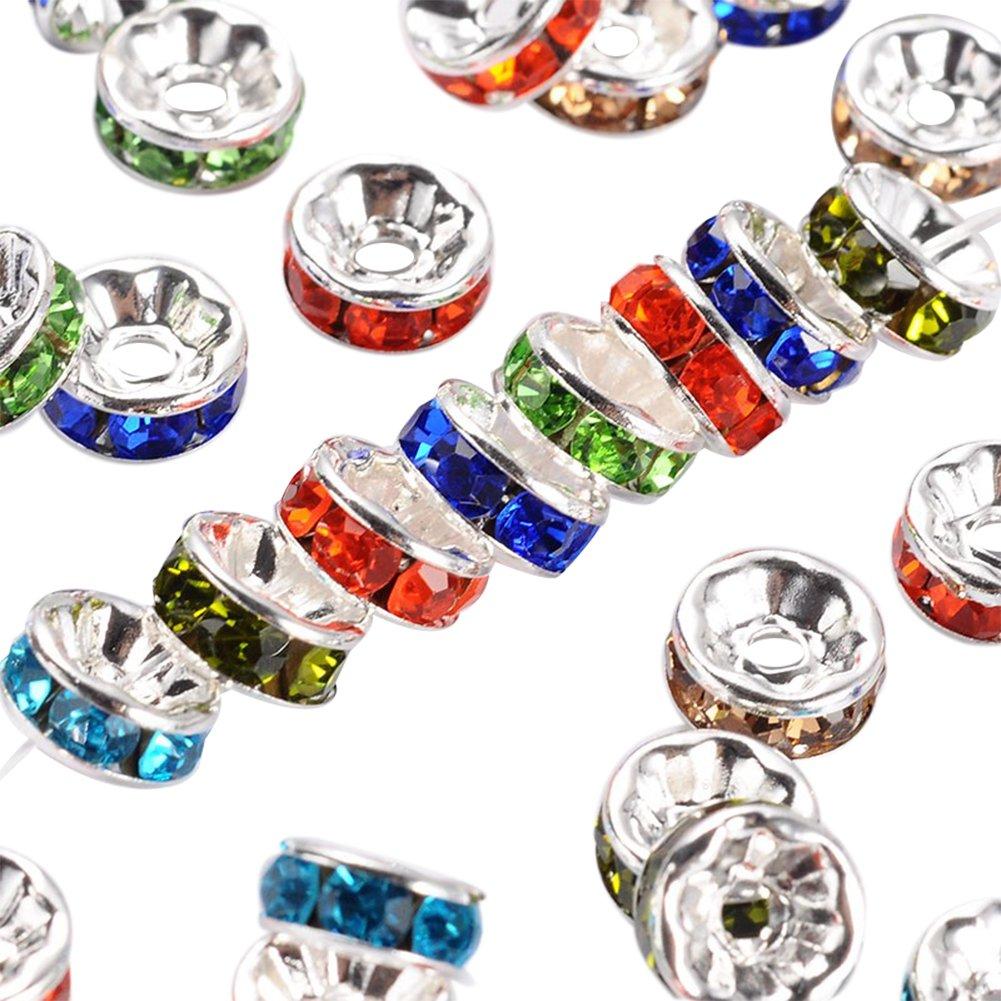 nbeads 200pcs Strass Round Spacer Perlen Silber Ton Schmuck, Mischfarbe, 8x3,8 mm, Bohrung: 1,5 mm