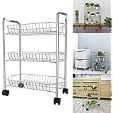 Modrine 3-Tier Wire Rolling Cart,Multifunction Utility Cart Kitchen Storage Cart on Wheels,Steel Wire Basket Shelving Trolley,Easy moving,Silver