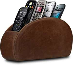 Londo Remote Controller Holder Organizer Store DVD Blu-ray TV Roku or Apple TV Remotes - Italian Genuine Leather with Suede Lining Living or Bedroom Storage – Rustic Brown (OTTOREMOTE)